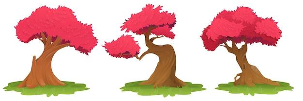 Bomen met roze blad, het beeld van bomen op het gras met rode bladeren. mooie roze bladeren van een boom, sakura, kersenboom. vector illustratie