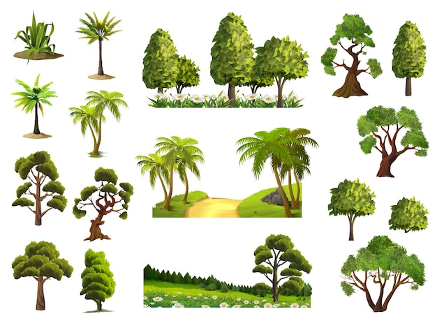 Bomen, natuur, bos, iconen set