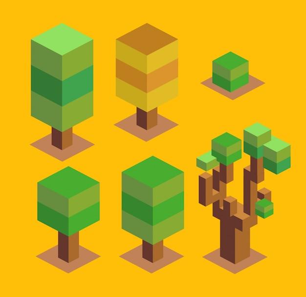 Bomen stellen 3d-pixel in