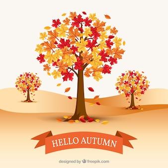 Bomen verliezen hun bladeren in de herfst
