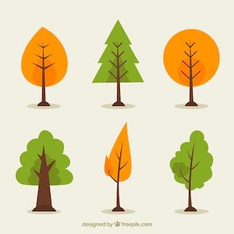 Bomencollectie in vlakke stijl