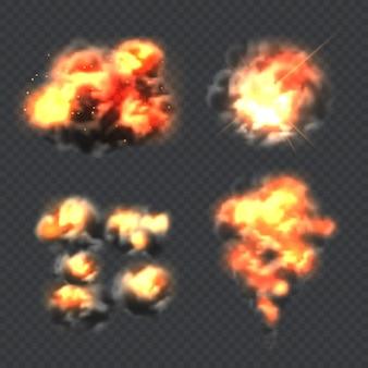 Bomexplosie. brand realistische explosie effect licht vector collectie. illustratie vuur en vlam, ontploffing dynamiet explosie