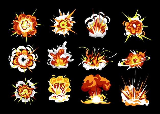 Bomexplosie set. geïsoleerde cartoon explosie vuur vlam met rook wolk platte collectie. bom burst energie. komische boom effect vectorillustratie
