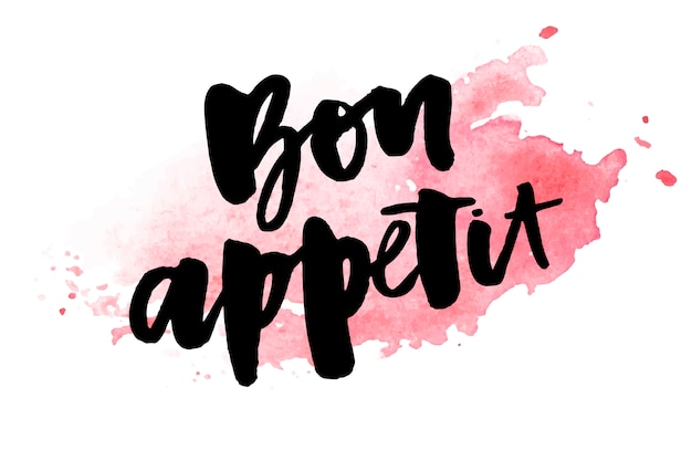 Bon appetit 2 belettering kalligrafie penseel ontwerp inkt zwart