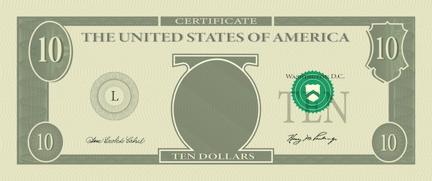 Bon sjabloon bankbiljet 10 dollar met guillochepatroon watermerken en rand. groen bankbiljet als achtergrond, cadeaubon, coupon, geldontwerp, valuta, cheque, beloning, certificaat vectorontwerp.