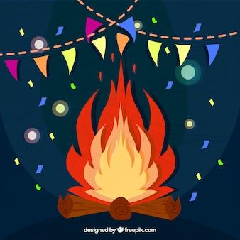 Bonfire achtergrond met confetti
