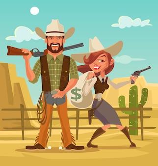 Bonnie en clyde. vrouw en man dieven. westerse overvallers. platte cartoon afbeelding