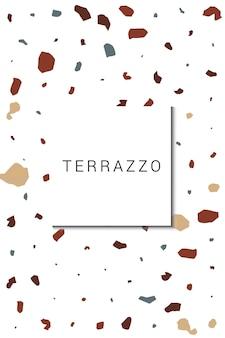Bonte terrazzo muur vector witte achtergrond. moderne terrazzo tegel achtergrond. heldere venetiaanse sjabloon.