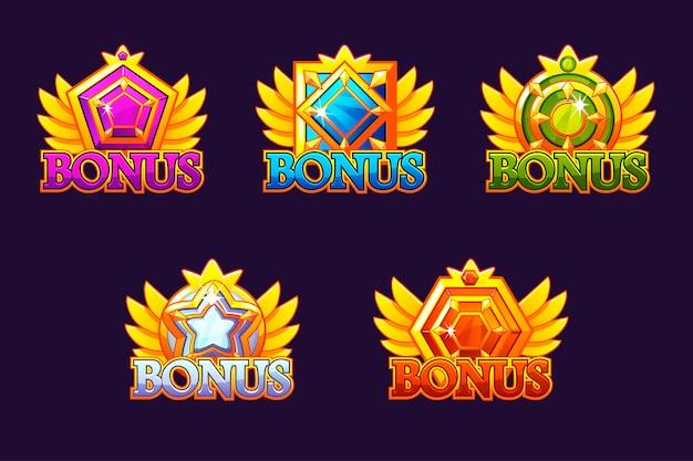 Bonus pictogrammen instellen. kleurrijke sieraden stenen. awards met edelstenen. spelitem voor casino en gebruikersinterface