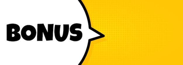Bonus. tekstballonnenbanner met bonustekst. luidspreker. voor zaken, marketing en reclame. vector op geïsoleerde achtergrond. eps-10.