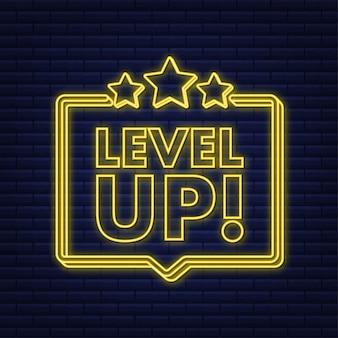 Bonus van het spelpictogram. niveau omhoog icoon, nieuw niveau logo. neon icoon. vector illustratie.