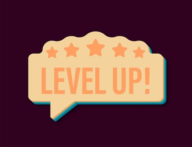 Bonus van het spelpictogram. niveau omhoog retro icoon, nieuw niveau logo. vector illustratie.
