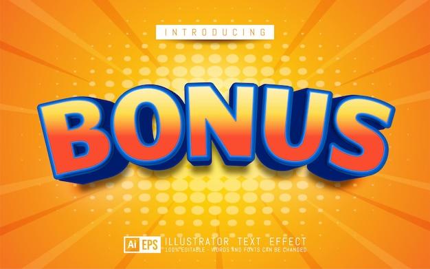 Bonusteksteffect bewerkbare 3d-tekststijl geschikt voor bannerpromotie