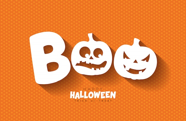 Boo. gelukkig halloween-ontwerp met enge onder ogen gezien pompoenen