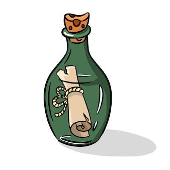Boodschap in het flesje pictogram in cartoon stijl