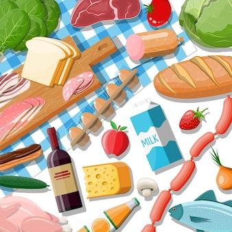 Boodschappen instellen. kruidenier collectie. supermarkt. vers biologisch eten en drinken. melk, groenten, vlees, kippenkaas, worstjes, wijnvruchten, sap van visgraan. vector illustratie vlakke stijl