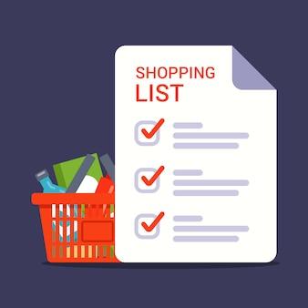 Boodschappenlijstje om te winkelen in de winkel. boodschappenlijstje met markeringen. illustratie