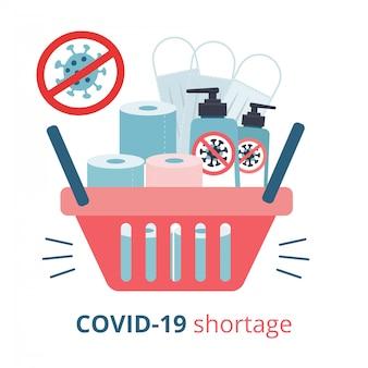 Boodschappenmand vol met tekorten - toiletpapier, medische maskers, ontsmettingsgel. paniek in de supermarkt vanwege quarantaine van coronavirus. vlakke afbeelding van aankoop. tekort in winkels.