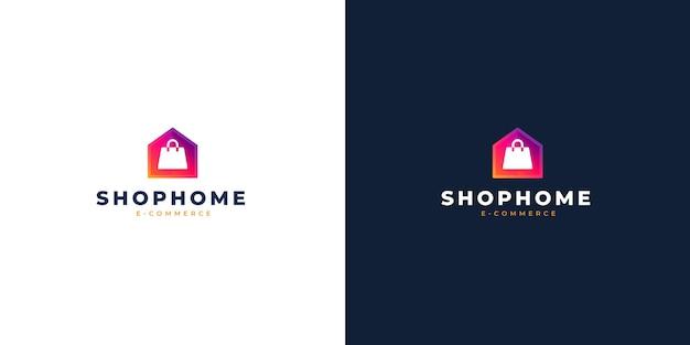 Boodschappentas en huis e-commerce modern log