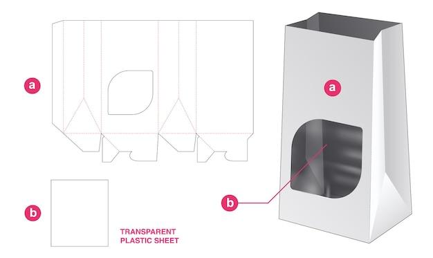 Boodschappentas en venster met gestanste sjabloon van transparant plastic vel