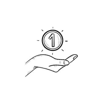 Boodschappentas hand getrokken schets doodle pictogram. winkelverkoop, koop in de winkel, cadeauverpakking, markt en consumentisme concept. vectorschetsillustratie voor druk, web, mobiel en infographics op witte achtergrond