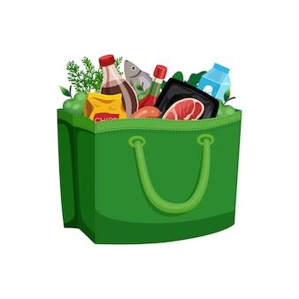 Boodschappentas mand samenstelling met geïsoleerde afbeelding van voedsel in stoffen zak