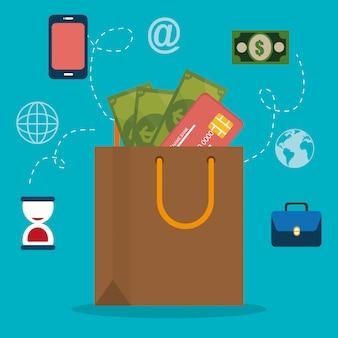Boodschappentas met elektronische handel pictogrammen