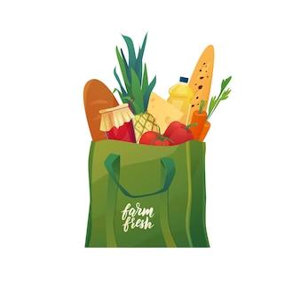 Boodschappentas met eten eco katoen groene shopper