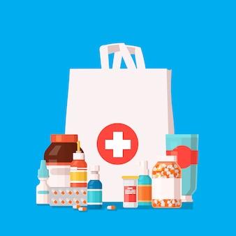 Boodschappentas met verschillende medicijnen.