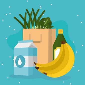 Boodschappentas met voedsel symbool collectie op blauwe achtergrond