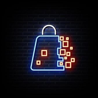 Boodschappentas neon teken ontwerpelement lichte banner