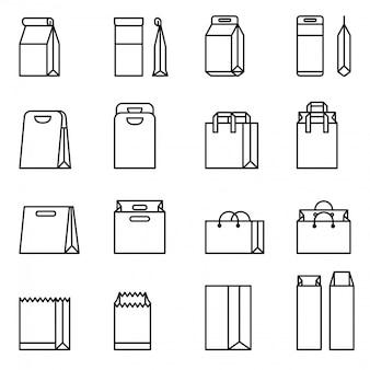 Boodschappentas, papieren zak vector icon set. dunne lijnstijl voorraad vector.