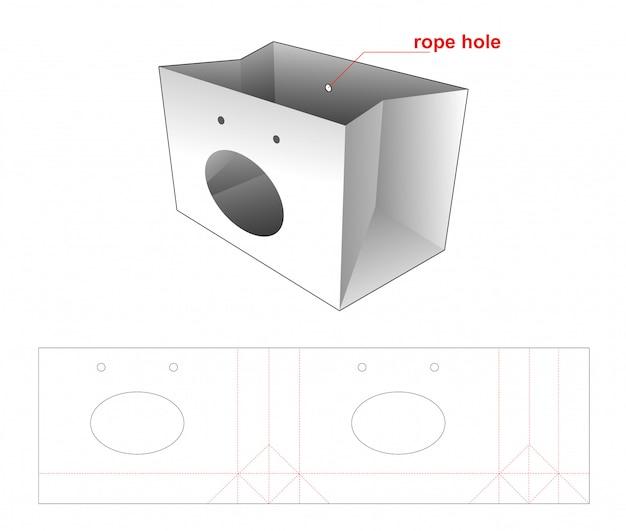 Boodschappentas verpakking met gestanst sjabloonontwerp met ellipsvenster