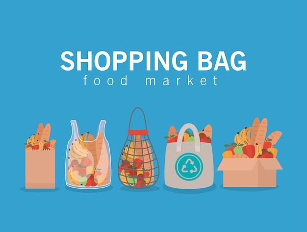 Boodschappentas voedselmarkt en set marktzakken vol met marktproducten