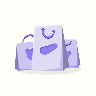 Boodschappentassen. vectorillustratie in vlakke stijl
