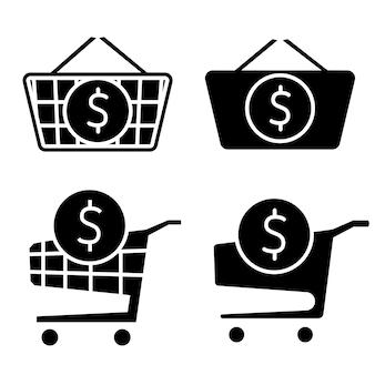 Boodschappenwagentje met binnen dollarteken. de bestelling is voltooid. een bestelling plaatsen. compleet winkelen, betalen. verzameling van webpictogrammen voor online winkel, van verschillende winkelwagenpictogrammen in verschillende vormen. vector