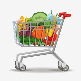 Boodschappenwagentje op wit. volledige supermarkt voedselmand vectorillustratie, winkelkar met boodschappen goederen geïsoleerd