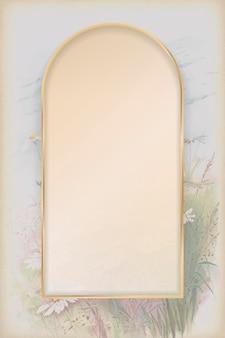 Boog gouden frame op madeliefje patroon achtergrond sjabloon vector