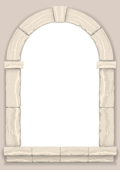 Boog in de muur van beige geslepen steen