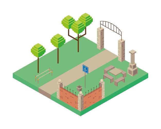 Boog ingang en tafel park scène isometrische stijl pictogram illustratie ontwerp