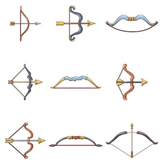 Boog pijl wapen pictogrammen instellen