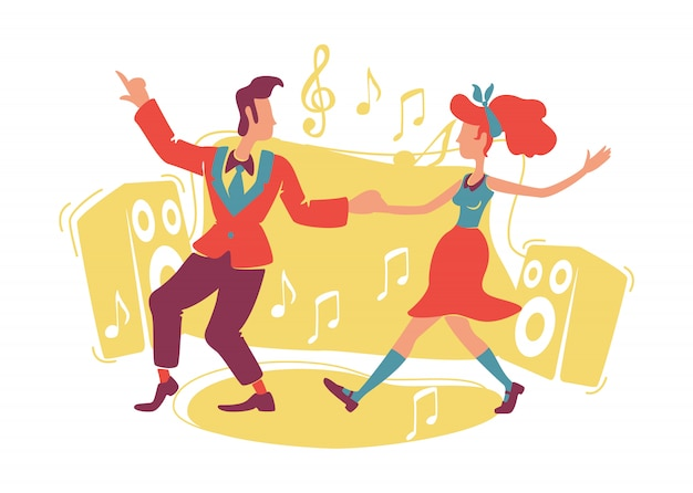 Boogie woogie dansende webbanner, poster. rock n roll dansers tekens op cartoon achtergrond.