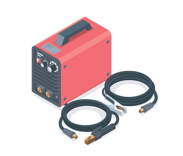 Booglassen machine rood isometrisch eenvoudig ontworpen