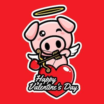 Boogschieten schattige cupido varkens met liefde