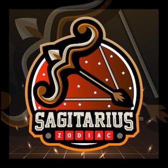 Boogschutter dierenriem mascotte esport logo ontwerp