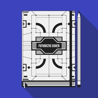 Book cover design template. notebook mockup. geometrische futuristische elementen.
