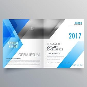 Booklet pagina omslag tijdschrift ontwerp met blauwe abstracte vormen