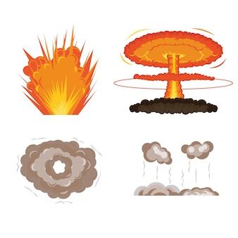Boom. cartoon explosie animatieframes voor game. sprite sheet explodeert burst blaster brand komische vlam