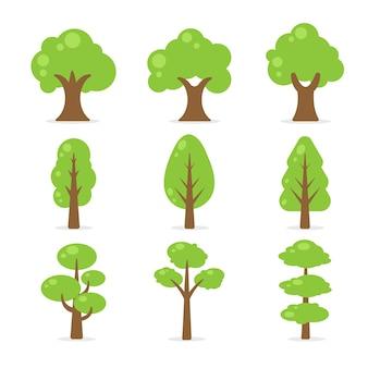 Boom collectie. eenvoudige vormen van groene bomen op witte achtergrond.