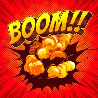 Boom comic speech template kleurrijke achtergrond.
